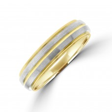 9ct Gold 5mm Wedding Ring with Palladium Sleeves