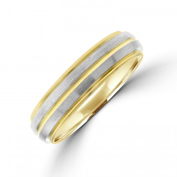 9ct Gold 5mm Wedding Ring with Palladium Sleeves
