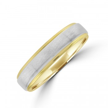 9ct Gold 5mm Court Wedding Ring with Palladium Sleeve
