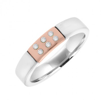 9ct Two-Tone Gold Diamond Wedding Ring