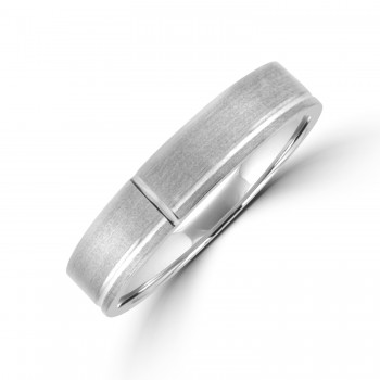 Palladium 5mm Flat Court Lined Brushed Wedding Ring
