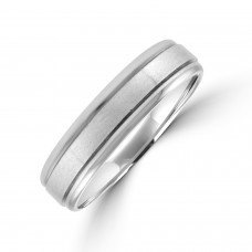 Palladium 5mm Court Lined Wedding Ring
