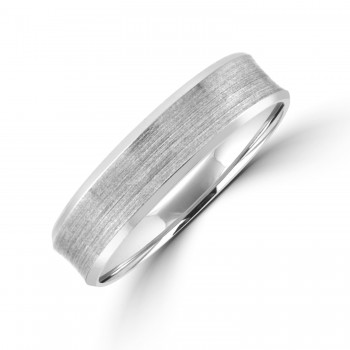 Platinum 6mm Concave Brushed Wedding Ring