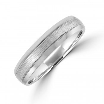 Palladium 5mm Court Polished/Brushed Wedding Ring