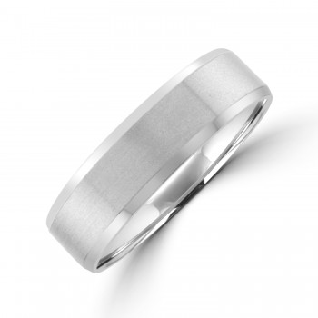 Platinum 6mm Flat court Bevelled Wedding Ring