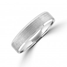 Palladium 5mm Court Brushed Bevelled Edge Wedding Ring
