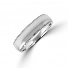 Palladium 6mm Court Beaded Edged Wedding Ring