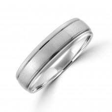 Palladium 6mm Court Lined Wedding Ring