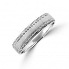9ct white gold 5mm Court Beaded Edge Wedding Ring