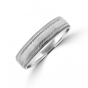 9ct white gold 5mm Court Beaded Edge Wedding Ring