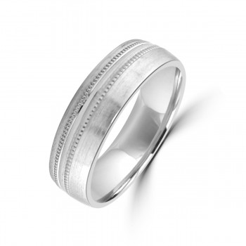 Palladium 950 6mm Satin Beaded Wedding Ring