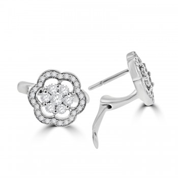 18ct White Gold Diamond Flower Cluster Halo Stud Earrings