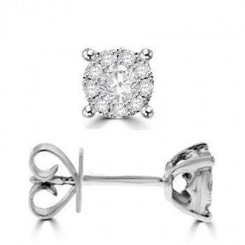 18ct White Gold Diamond Illusion Stud Earrings