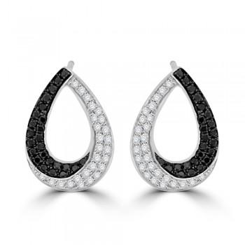 18ct White Gold Black & White Diamond Pear Stud Earrings