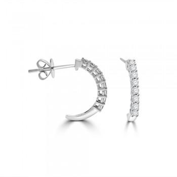 18ct White Gold Diamond Half Hoop Earrings