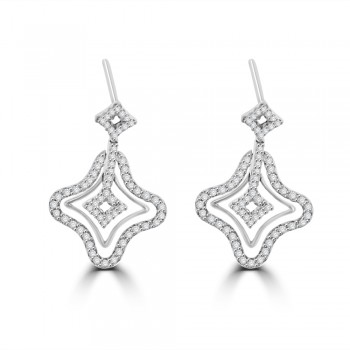 18ct White Gold Diamond Clover Drop Earrings