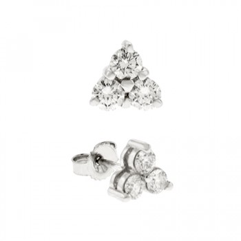 18ct White Gold Diamond Trilogy Stud Earrings