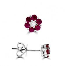 18ct White Gold Ruby & Diamond Flower Cluster Earrings