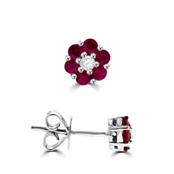 18ct White Gold Ruby & Diamond Flower Cluster Earrings