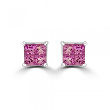 18ct White Gold Pink Sapphire Quad Stud Earrings