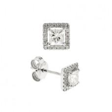18ct White Gold Princess Diamond Halo Stud Earrings