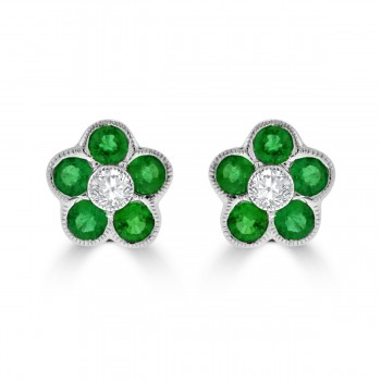 18ct White Gold Emerald & Diamond 5x1 Cluster Stud Earring