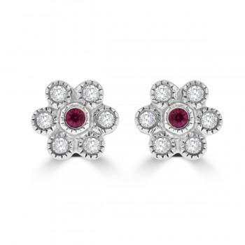 18ct White Gold Ruby & Diamond 6x1 Cluster Stud Earrings