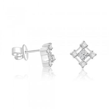 18ct White Gold Princess cut Square Diamond Stud Earrings