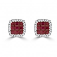 18ct White Gold Princess Ruby & Diamond Stud Earrings