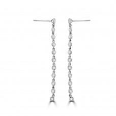 18ct White Gold Diamond Tassle Drop Earrings