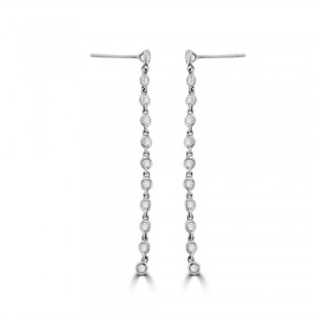 18ct White Gold Diamond Tassle Drop Earrings