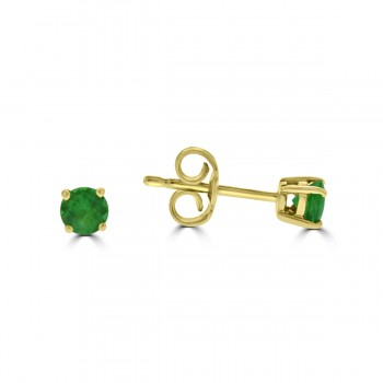 18ct Gold Emerald Solitaire Stud Earrings