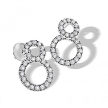 18ct White Gold Double Diamond Halo Earring Drops