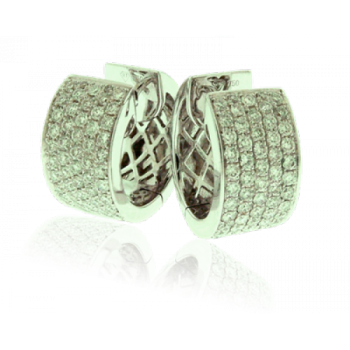 18ct White Gold 5-row Diamond Hoop Earrings