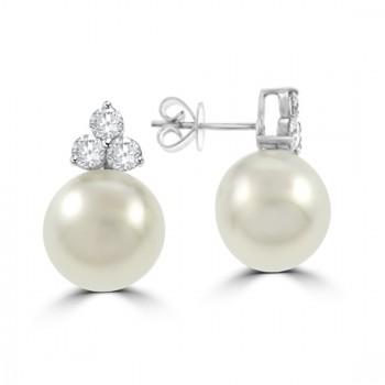 18ct White Gold South Sea Pearl & Diamond Earrings