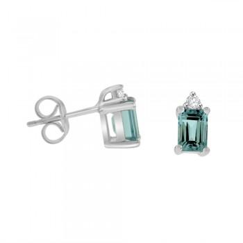 18ct White Gold Aquamarine & Diamond Stud Earrings