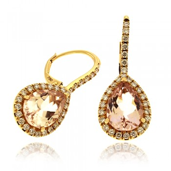18ct Rose Gold Morganite & Diamond Pear Drop Earrings
