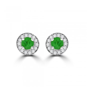 9ct White Gold Emerald Diamond Halo Stud Earrings