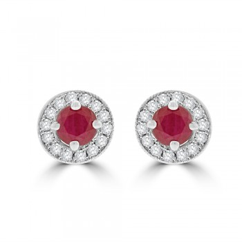 9ct White Gold Ruby Diamond Halo Stud Earrings