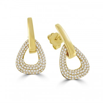 18ct Gold Pave Diamond Drop Earrings