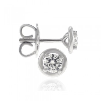 18ct White Gold Solitaire Diamond Bertani Earrings