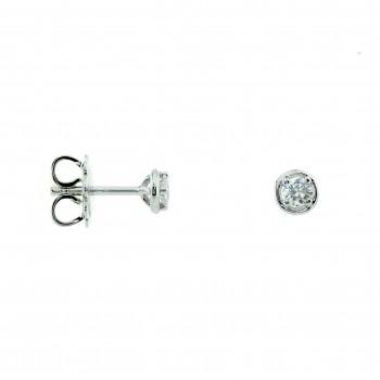 18ct White Gold Solitaire Diamond Bertani Earrings