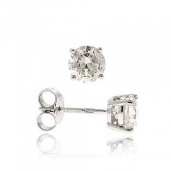 18ct White Gold Solitaire Diamond Earrings