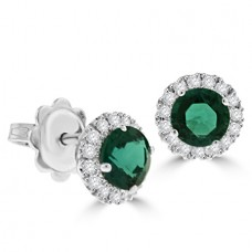 18ct White Gold Emerald & Diamond Halo Stud Earrings