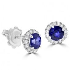 18ct White Gold Sapphire & Diamond Halo Stud Earrings