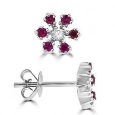 18ct White Gold Ruby & Diamond Star Stud Earrings