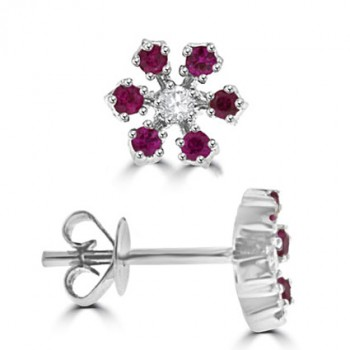 18ct White Gold Ruby & Diamond Star Stud Earrings