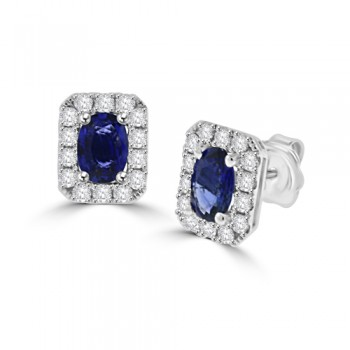 18ct White Gold Sapphire & Diamond Halo Stud Earrings