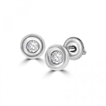 18ct White Gold .25ct Diamond Full Moon Stud Earrings