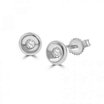 18ct White Gold Full Moon .15ct Diamond Earring Stud Earrings